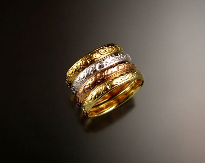 Stackable solid 14k Gold Victorian Floral pattern band four color ring set made to order in your size 14k gold stacking rings