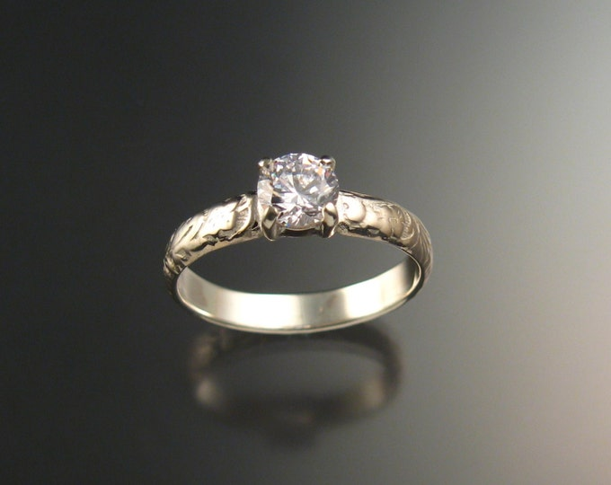 White Zircon Wedding ring Sterling Silver Diamond substitute ring made to order in your size