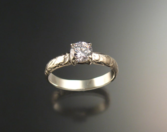 White Zircon Wedding ring 14k White Gold Diamond substitute ring made to order in your size