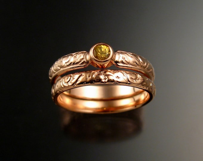 Golden Sapphire Wedding set 14k rose Gold Victorian bezel set canary Diamond substitute ring made to order in your size