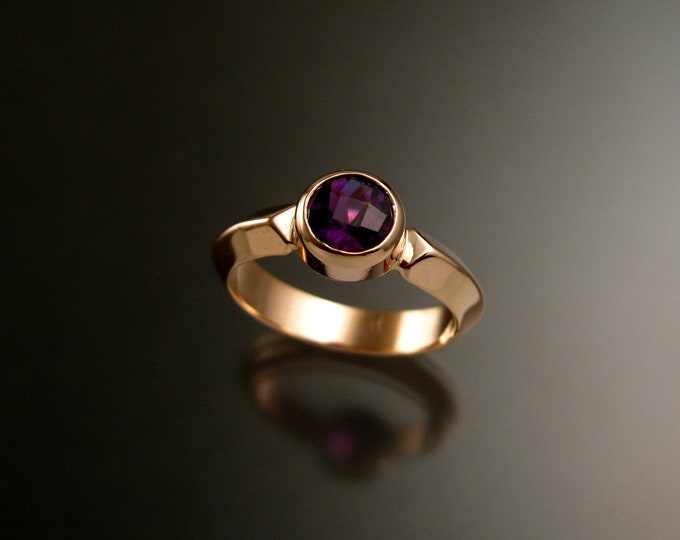 Amethyst ring 14k Rose Gold Triangular band Made to order in your size