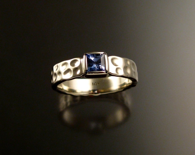 Sapphire square Moonscape ring handcrafted in 14k white gold size 8