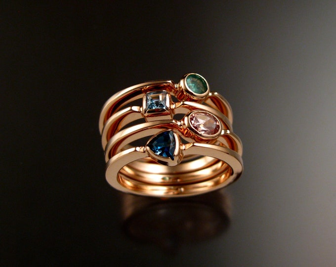 Stackable Mothers Birthstone ring set of Four 14k Rose Gold premium birthstone rings Made to order in your size