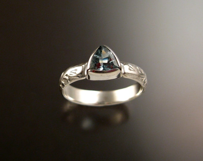 Aquamarine Triangle ring 14k White Gold Victorian bezel set stone ring made to order in your size