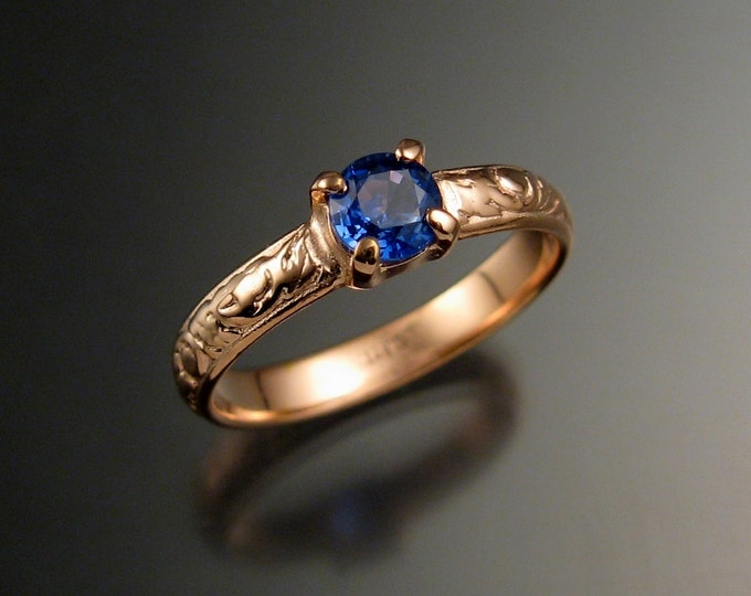 Sapphire Natural Electric Blue Ceylon Sapphire Wedding ring 14k Rose Gold Victorian Engagement ring made to order in your size