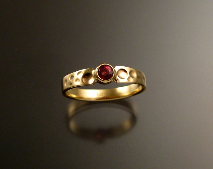 Orange Sapphire Wedding ring Natural Padparadscha Engagement ring Handmade in 14k yellow Gold Moonscape ring
