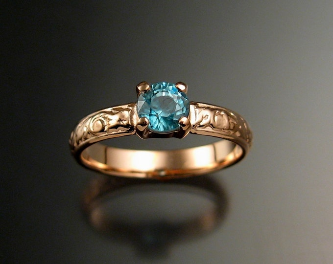 Blue Zircon Wedding ring 14k Rose Gold blue Diamond substitute Victorian style ring made to order in your size