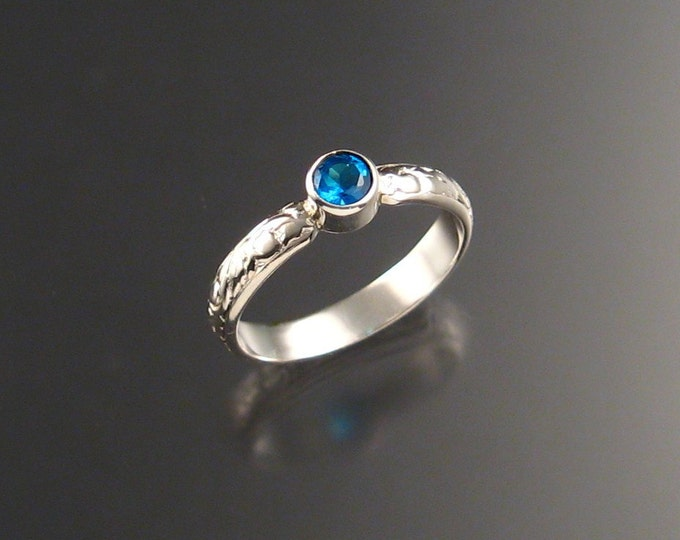 Apatite ring Electric blue color made to order in your size