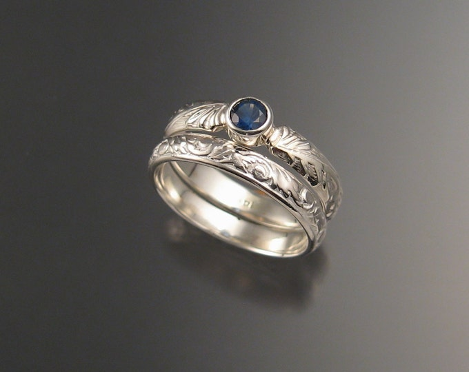 Sapphire Natural cornflower blue Wedding set 14k White Gold Victorian bezel set two rings made to order in your size