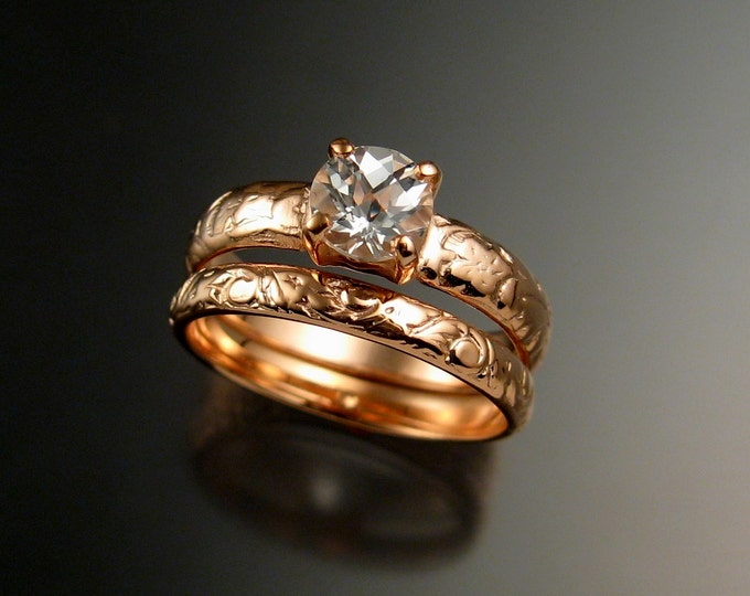 White Topaz Wedding set 14k rose Gold Diamond substitute ring made to order in your size