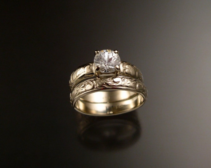 White Zircon Wedding set in 14k White Gold Diamond substitute Victorian Engagement ring made to order in your size