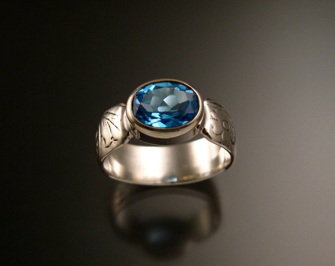 Blue Topaz Sterling Silver handmade wide Victorian floral pattern band ring east west bezel set stone ring made to order in your size