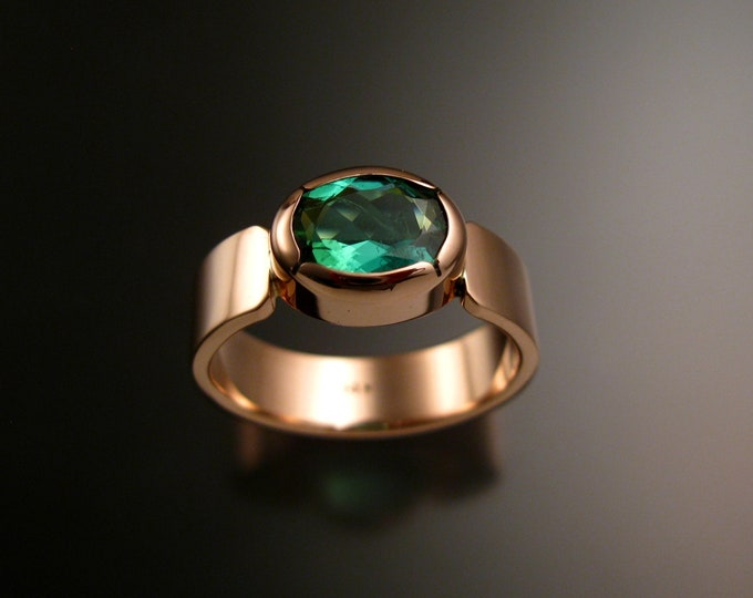 Green Tourmaline 14k Rose Gold ring with Mint green Tourmaline Pink gold wide band large stone Paraiba colored 8 x 10 mm Stone