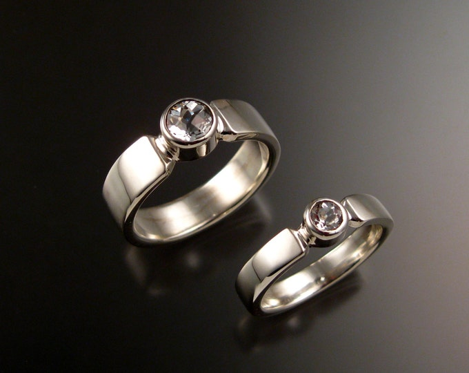 White Topaz 14k White Gold His and Her's Natural Diamond substitute wedding rings made to order in your sizes two ring set