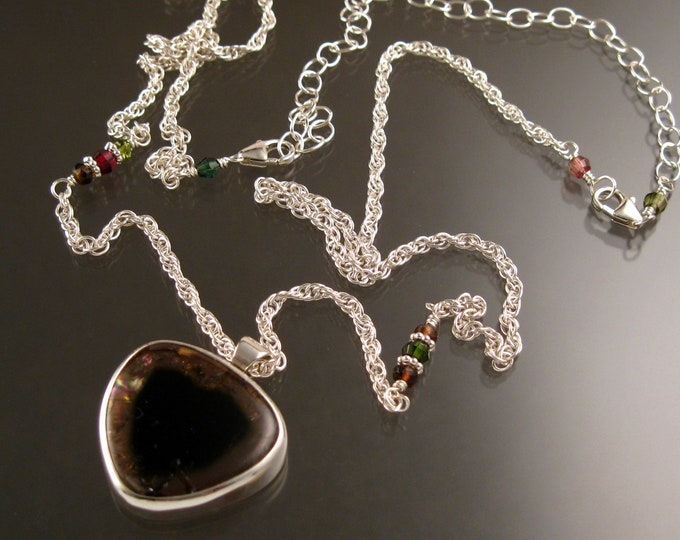 Watermelon Tourmaline heart Necklace Adjustable length Handmade in Sterling Silver