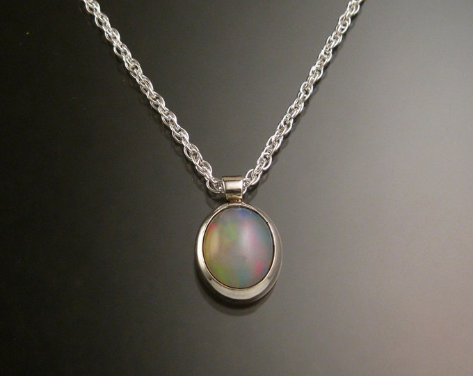 Ethiopian Opal necklace Sterling Silver large stone Natural solid Opal