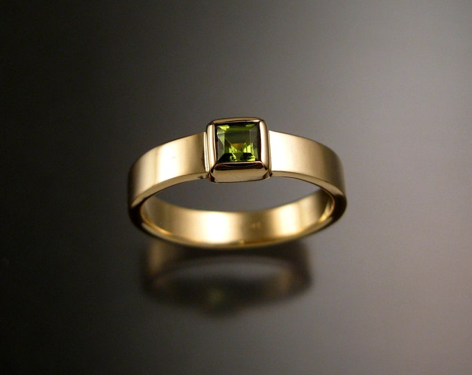 Peridot ring handmade to order in your size 14k yellow Gold square stone bezel set ring