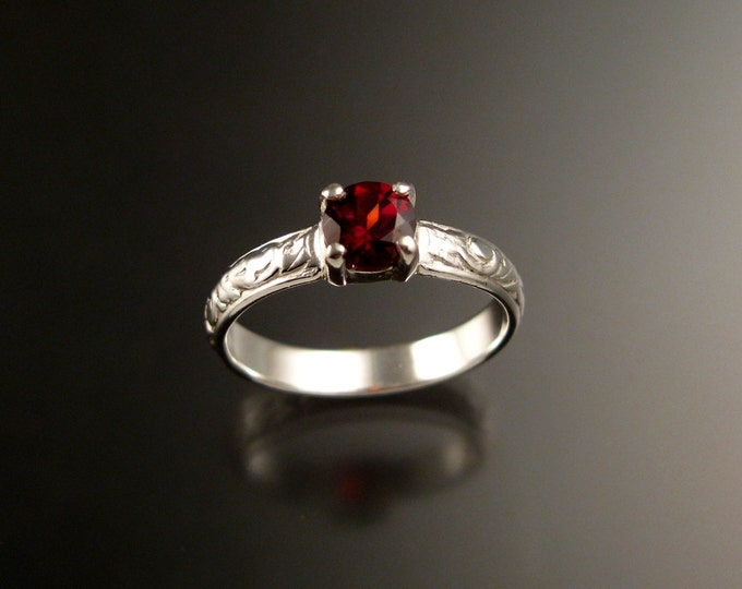Garnet Victorian Wedding ring 14k White Gold Ruby substitute engagement ring made to order in your size