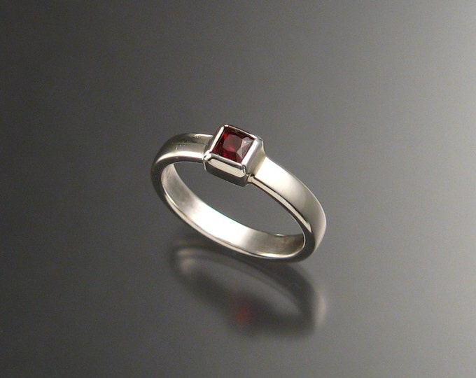 Garnet ring Square stone Sterling Silver ring made to order in your size