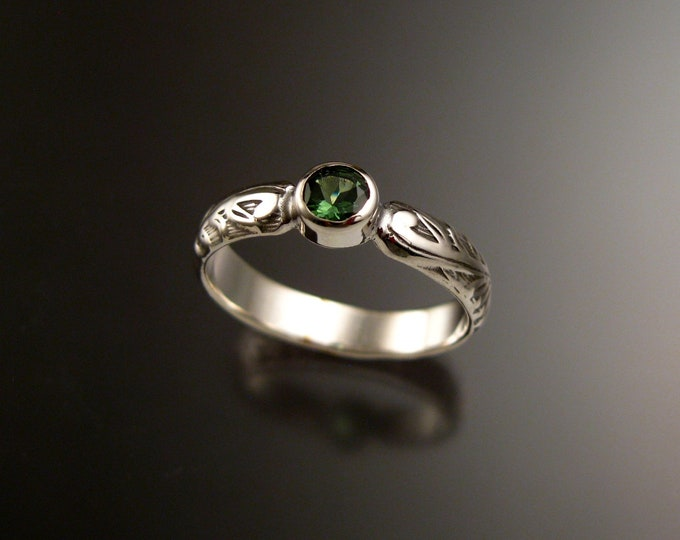 Green Tourmaline Victorian floral pattern ring 14k White gold made to order in your size