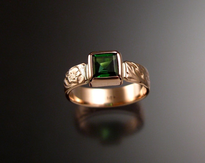 Green Tourmaline square stone Victorian Vine and Flower pattern ring 14k Rose Gold ring made to order in your size