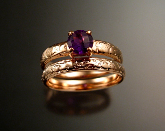 Amethyst Wedding set 14k rose Gold two ring set handmade to order in your size