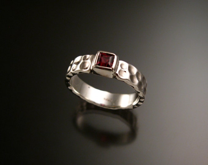 Garnet square Moonscape ring handcrafted in Sterling Silver made to order in your size