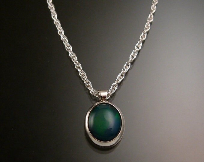 Blue-green Ethiopian Opal necklace Sterling Silver large stone Natural solid Opal