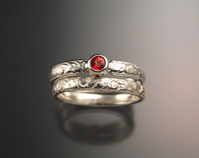 Orange Sapphire Wedding set 14k White Gold Victorian bezel set Padparadscha ring made to order in your size