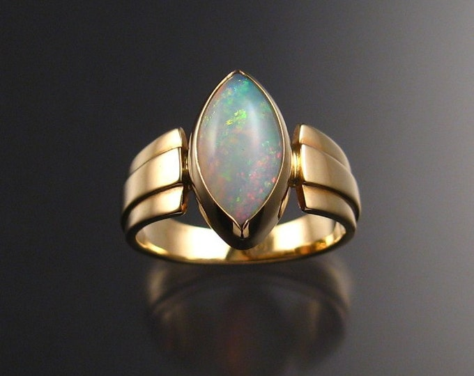 Opal Marquise ring, 14k yellow Gold, size 7 3/4