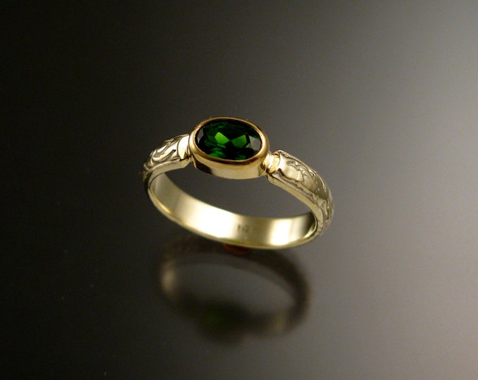 Chrome Diopside ring 14k Green Gold Emerald substitute ring with bezel set stone made to order in your size size