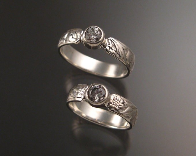 White Sapphire His and Her's 14k White Gold flower and vine pattern Natural wedding rings made to order in your sizes Victorian two ring set