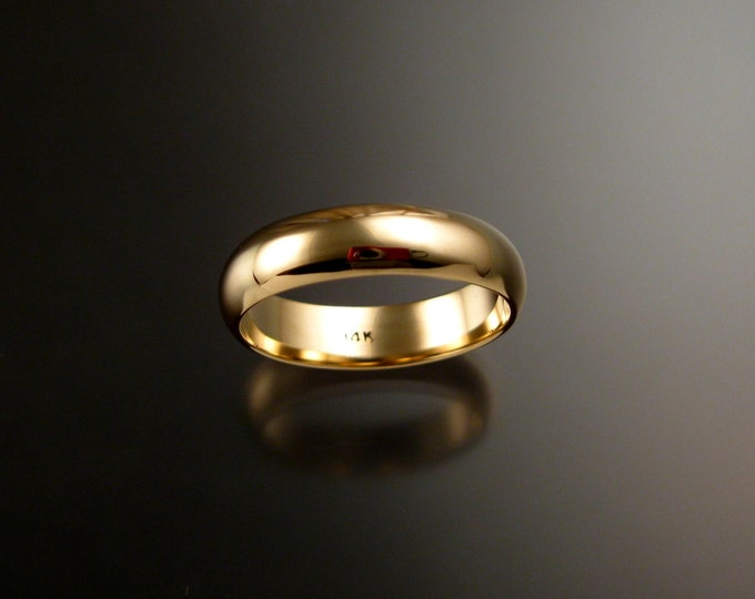 Yellow Gold Wedding band 1.5mm x 5mm 14k low dome traditional ring band Handmade in your size Grooms ring