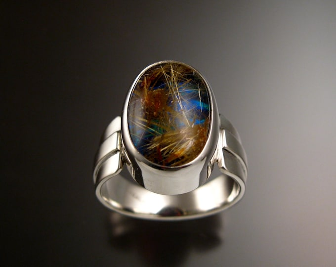 Rutilated Quartz and Blue Lab Opal Doublet ring large size 11 Sterling Silver handmade Mans ring ready to ship