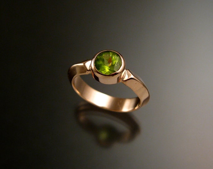 Peridot ring 14k Rose Gold Triangular band ring Made to order in your size