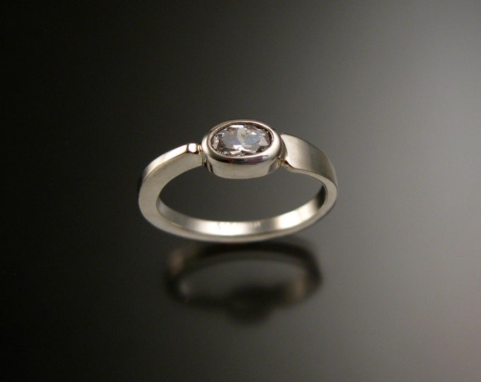 White Topaz stackable Ring Sterling Silver Asymmetrical ring Hand crafted in your size