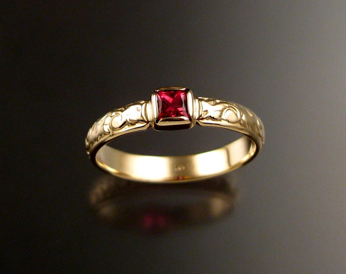 Spinel Wedding ring 14k Yellow Gold Victorian bezel set Natural square cut Ruby Red stone ring made to order in your size