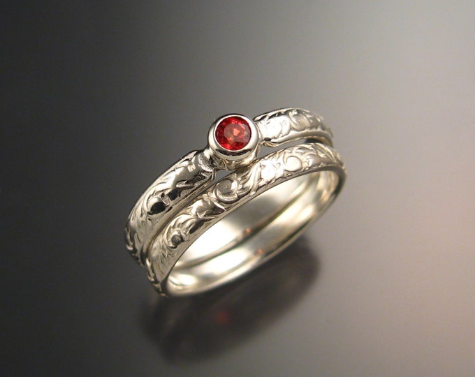 Orange Sapphire Wedding set sterling silver Victorian bezel set Padparadscha ring made to order in your size