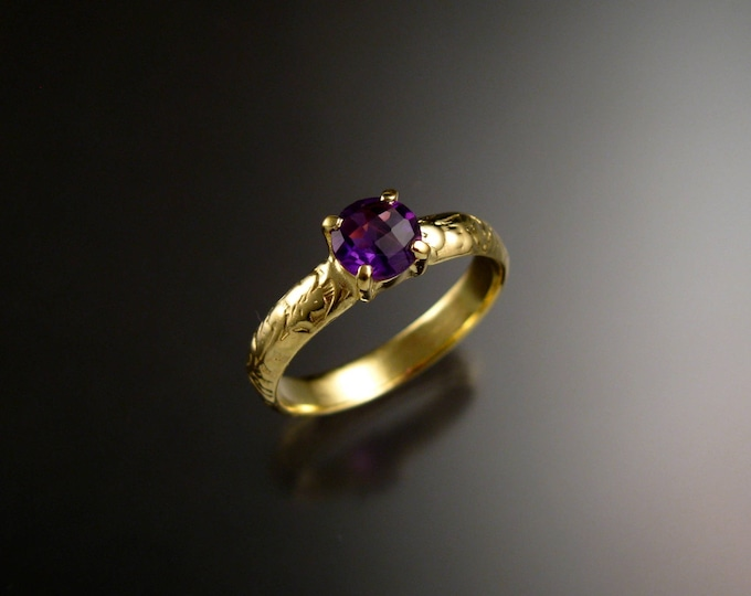 Amethyst Wedding ring 14k Green Gold Victorian floral pattern ring made to order in your size