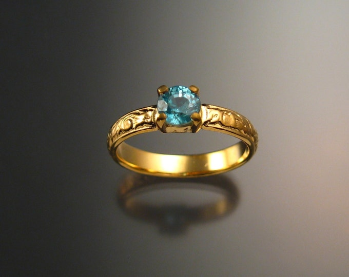 Blue Zircon Wedding ring 14k Yellow Gold blue Diamond substitute ring made to order in your size