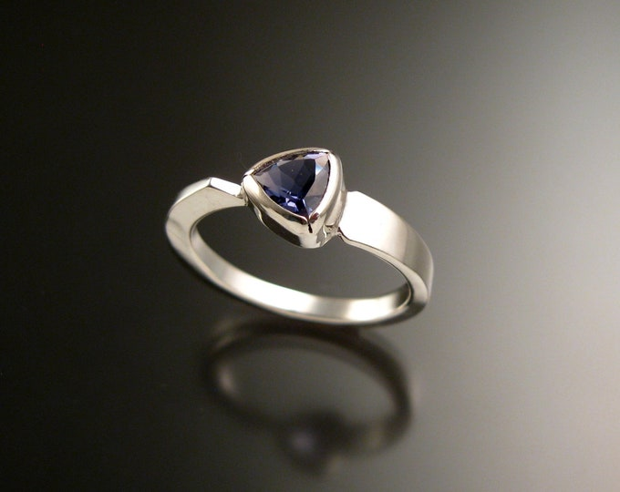 Iolite triangle ring Sterling Silver bezel set Stone Asymmetrical setting made to order in your Size