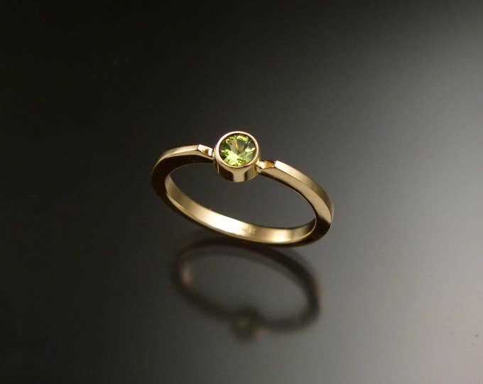 Peridot Stackable Mothers ring 14k Yellow Gold natural august birthstone ring Made to order in your size