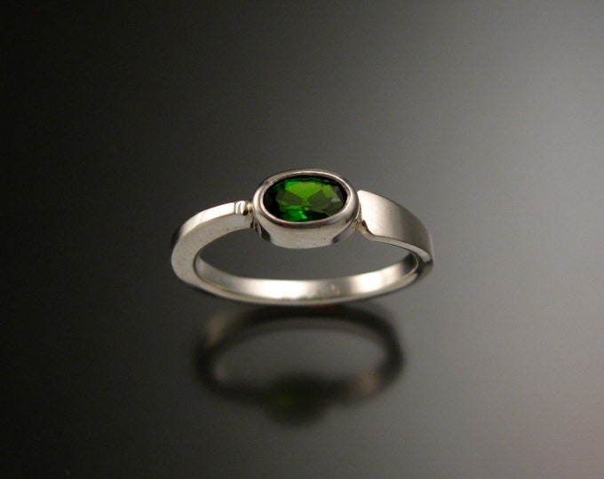 Chrome Diopside stackable Ring Sterling Silver Asymmetrical ring Hand crafted in your size