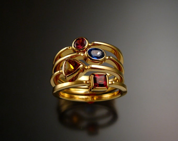 Stackable Mothers Birthstone ring set of Four 14k Yellow Gold birthstone stacking rings Made to order in your size