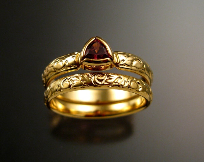 Pink Tourmaline Triangle Wedding set 14k Yellow Gold Victorian bezel set stone two ring set made to order in your size