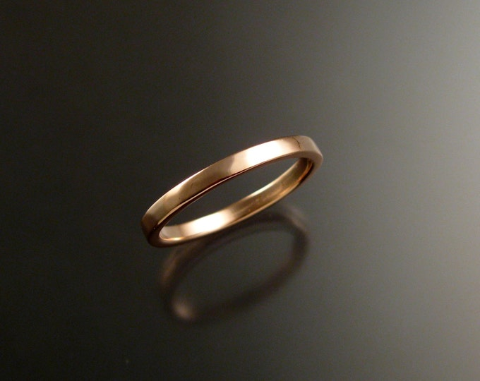 Rose Gold wedding Band stackable pink 14k gold ring
