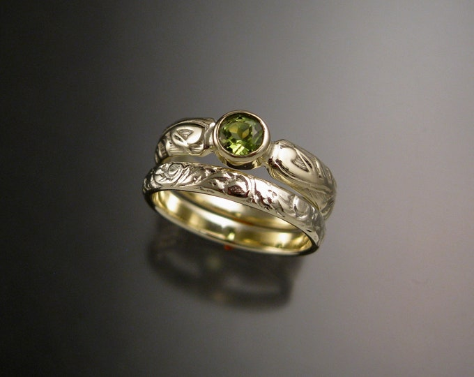 Peridot Wedding ring bezel set 14k Green Gold Victorian Floral pattern Engagement ring and matching band set made to order in your size