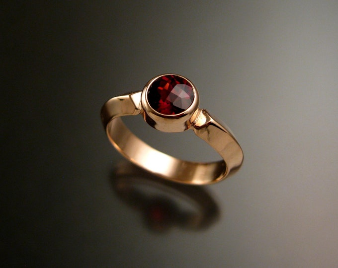 Garnet ring 14k Rose Gold Triangular band Made to order in your size