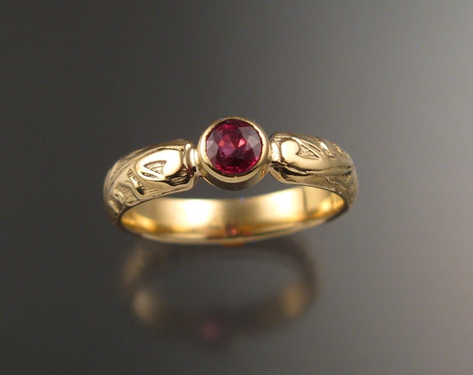 Orange Sapphire Wedding ring 14k Yellow Gold Victorian bezel set Padparadscha Sapphire ring made to order in your size