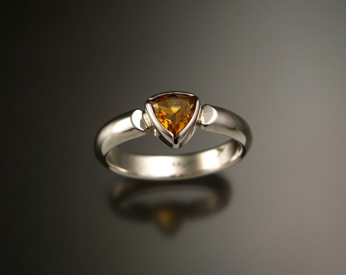 Citrine ring triangle shaped November birthstone ring set in Sterling Silver size 9